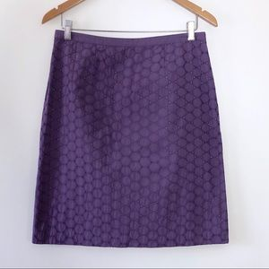 Boden Eyelet Pencil Skirt Cotton Lined Purple 8